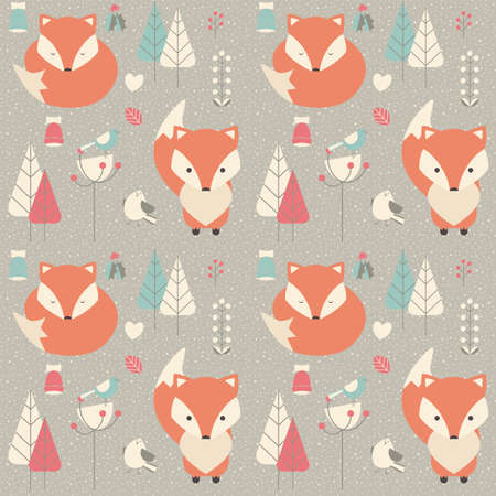 Seamless pattern with cute Christmas baby fox surrounded with floral decoration, vector illustration Illustration