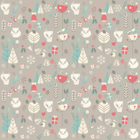 花の装飾、ベクトル図に囲まれたかわいいクリスマス赤ちゃんキツネのシームレス パターン