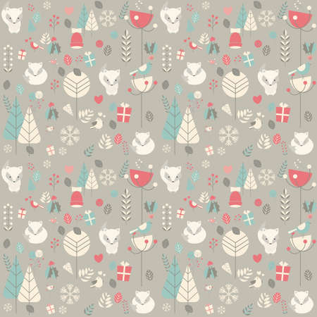 Seamless pattern with cute Christmas baby fox surrounded with floral decoration, vector illustration Stock Illustratie