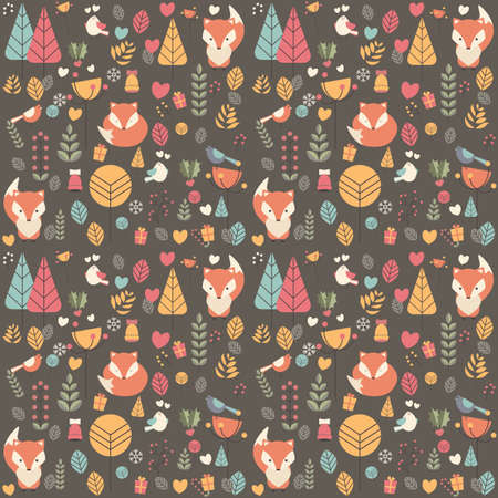 fox face: Seamless pattern with cute Christmas baby fox surrounded with floral decoration, vector illustration Illustration