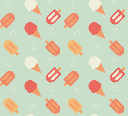 continuous: Seamless pattern with hand drawn ice cream, vector illustration