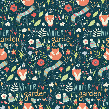 winter hat: Seamless pattern with winter garden flowers, foxes and scarf, hat and mittens, vector illustration