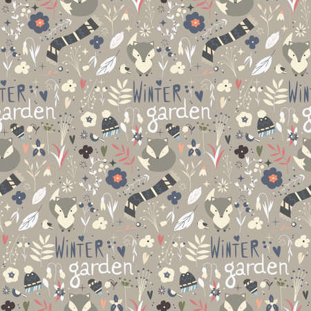 winter garden: Seamless pattern with winter garden flowers, foxes and scarf, hat and mittens, vector illustration