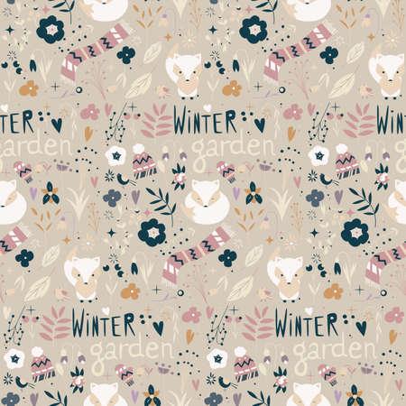 Nahtlose Muster mit Wintergarten Blumen, Füchse und Schal, Mütze und Handschuhe, Vektor-Illustration