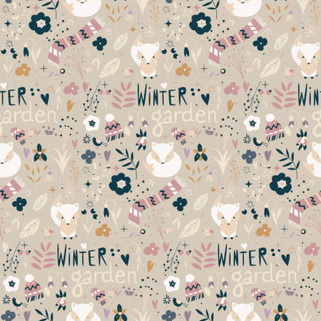 Seamless pattern with winter garden flowers, foxes and scarf, hat and mittens, vector illustration