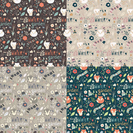 four: Collection of four seamless patterns with winter garden flowers, foxes and scarf, hat and mittens, vector illustration