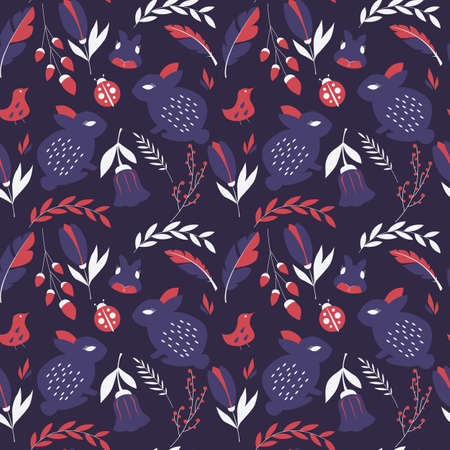 bugs bunny: Seamless pattern with rabbits, lady bugs, birds and flowers, vector illustration