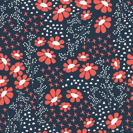 design vector: Seamless pattern design with hand drawn flowers and floral elements, vector illustration