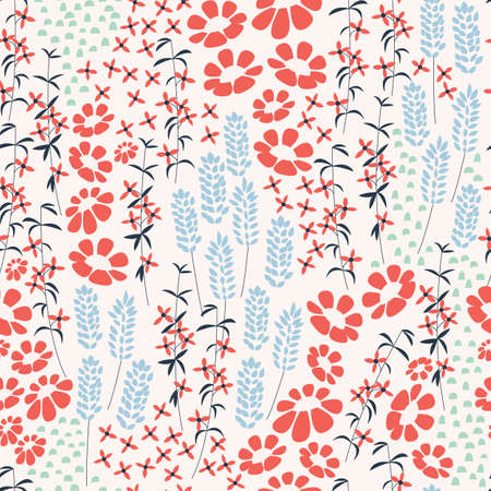 flower patterns: Seamless pattern design with hand drawn flowers and floral elements, vector illustration