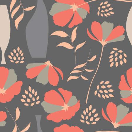 Vector seamless pattern d'éléments floraux, fleurs de printemps, coquelicots et vases, illustration vectorielle Vecteurs