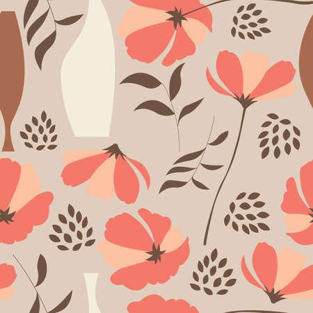 Vector seamless con elementi floreali, fiori primaverili, papaveri e vasi, illustrazione vettoriale
