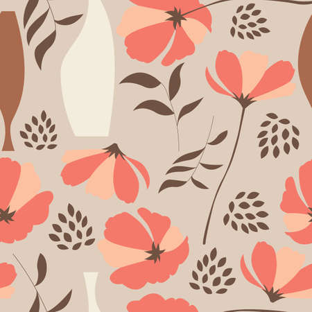 retro flower: Vector seamless pattern with floral elements, spring flowers, poppies and vases, vector illustration