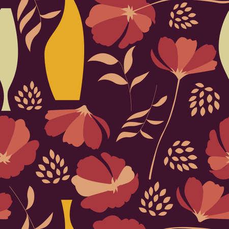 Vector naadloze patroon met bloemen elementen, de lente bloemen, klaprozen en vazen, vector illustratie