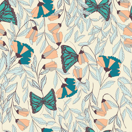 Vector traditional seamless pattern with Monarch butterflies, floral elements and spring flowers, vector illustration
