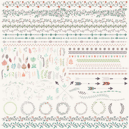 Hand drawn vintage leaves, arrows, feathers, wreaths, dividers, ornaments and floral decorative elements, vector illustration