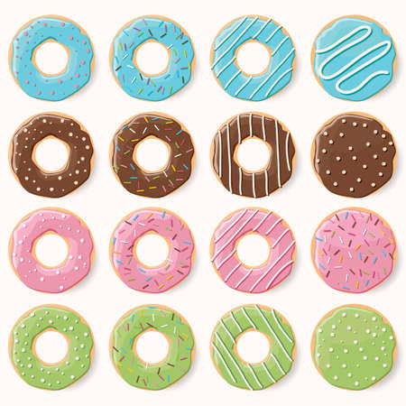 glazed: Collection of sixteen glazed colorful donuts with different flavors Illustration