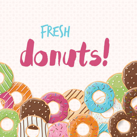 sprinkling: Poster design with colorful glossy tasty donuts