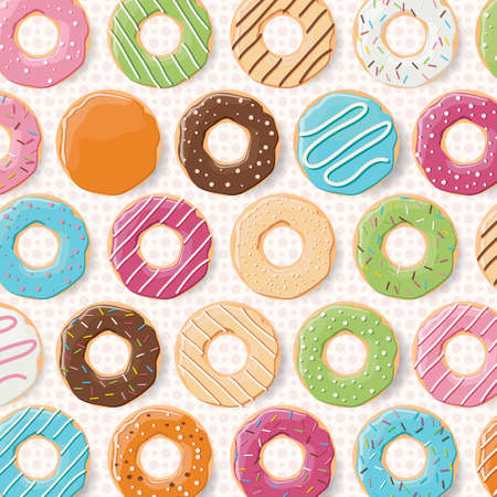 sprinkling: Pattern background with colorful glossy donuts