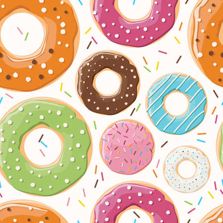 sprinkling: Seamless pattern with colorful tasty glossy donuts Illustration