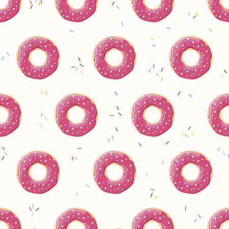 tasty: Seamless pattern with colorful tasty glossy donuts, vector illustration Illustration