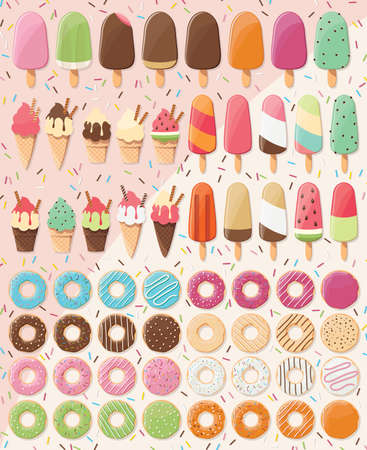 Huge collection of 28 ice creams and 32 donuts, delicious and tasty summer treats, vector illustration