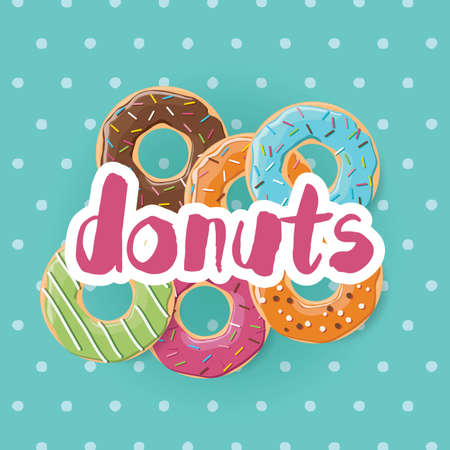 Poster design with colorful glossy tasty donuts, vector illustration