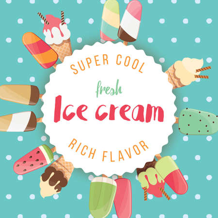 Poster design with colorful glossy ice cream, vector illustration