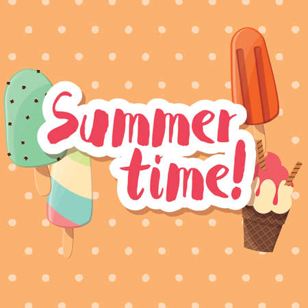 glaze: Poster design with colorful glossy ice cream, vector illustration