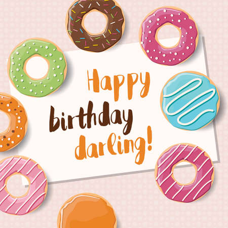 sprinkling: Poster design with colorful glossy tasty donuts, vector illustration