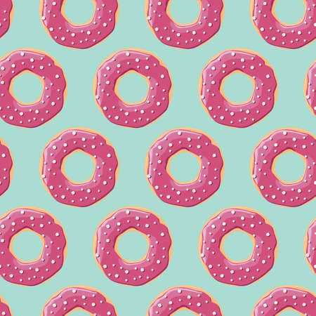 sprinkling: Seamless pattern with colorful tasty glossy donuts, vector illustration Illustration