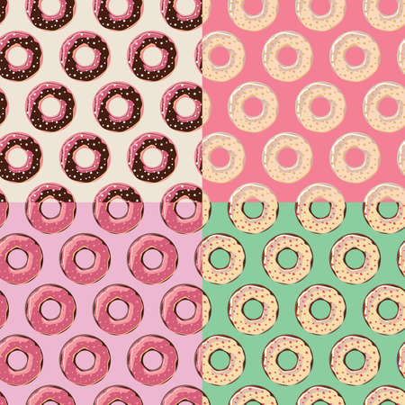 sprinkling: Four seamless patterns with colorful tasty glossy donuts, vector illustration