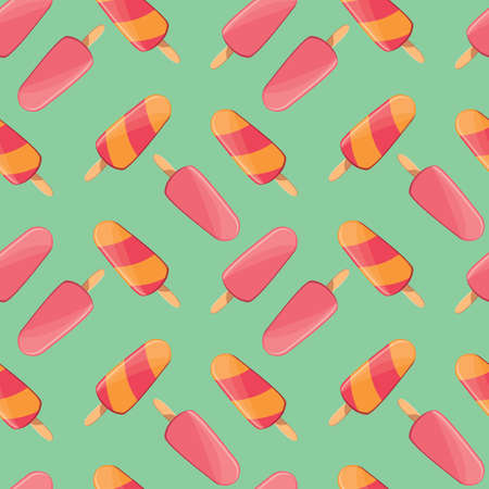 Ice cream seamless pattern, colorful summer background, delicious sweet treats, vector illustration