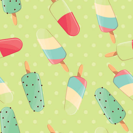 treats: Ice cream seamless pattern, colorful summer background, delicious sweet treats, vector illustration