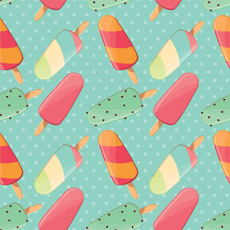 sweet treats: Ice cream seamless pattern, colorful summer background, delicious sweet treats, vector illustration