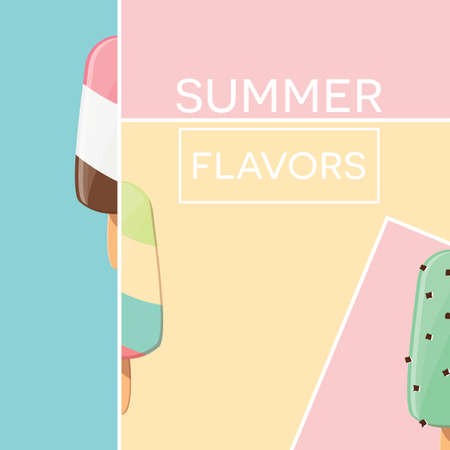 sprinkling: Modern typographic summer poster design with ice cream and geometric elements, vector illustration