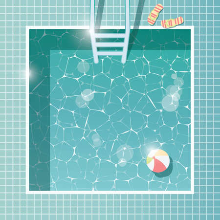 Swimming pool, top view, summer holiday vacation, clear water, vector illustration