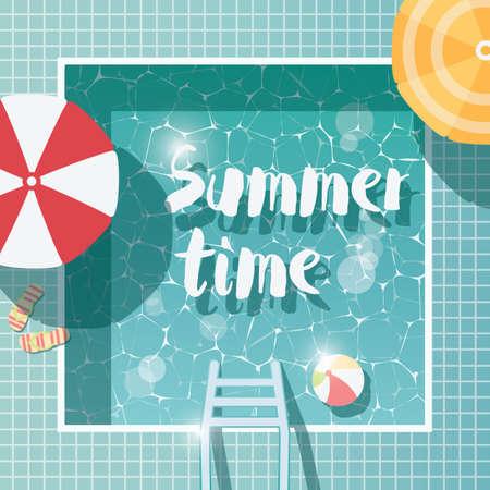 スイミング プール、平面図、夏の時間休日休暇、パラソル、ベクトル図で明確な水