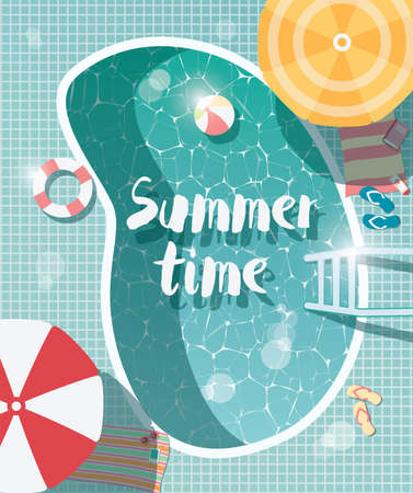 Swimming pool, top view, summer time holiday vacation, clear water with parasols, vector illustration