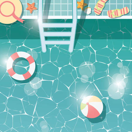 beach side: Swimming pool side, top view, summer time holiday vacation, clear water with beach items, vector illustration Illustration