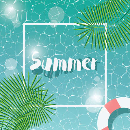 Swimming pool, top view, typographic hello summer message, summer time holiday vacation, vector illustration Stock Illustratie
