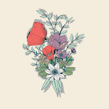 Vector boeket bloemen, botanische en florale decoratie getrokken hand, vector illustratie Vector Illustratie