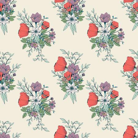 Naadloos patroon ontwerp met de hand getekende bloemen en florale elementen, vector illustratie