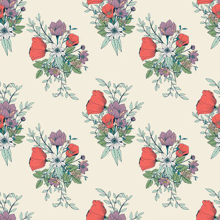 Seamless pattern design with hand drawn flowers and floral elements, vector illustration