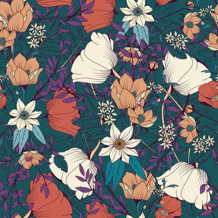 Naadloos patroonontwerp met hand getrokken bloemen en bloemenelementen, vectorillustratie