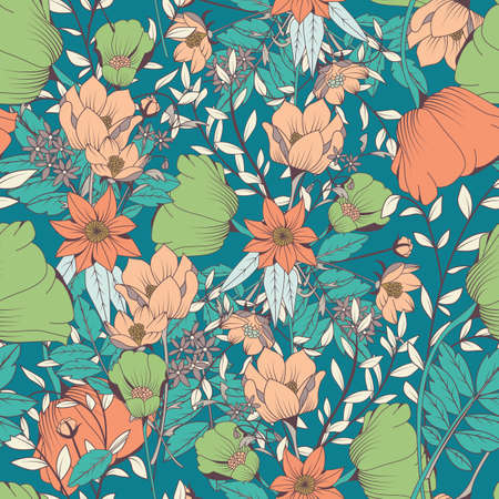 vintage patterns: Seamless pattern design with hand drawn flowers and floral elements, vector illustration