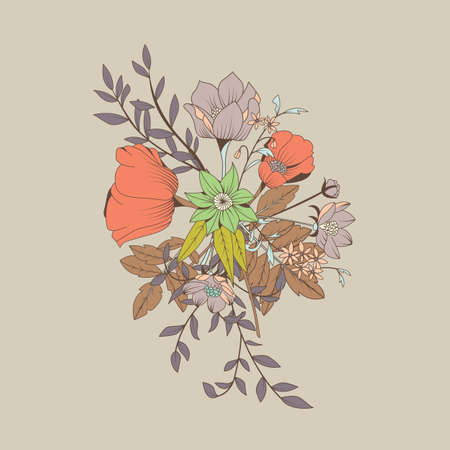 Vector flower bouquet, botanical and floral decoration hand drawn, vector illustration