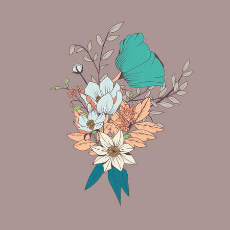 Vector Blumen-Bouquet, botanische und Blumenschmuck von Hand gezeichnet, Vektor-Illustration