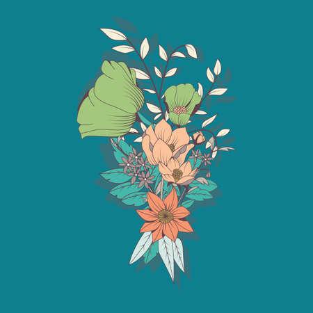 flower decoration: Vector flower bouquet, botanical and floral decoration hand drawn, vector illustration