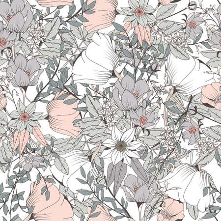 design pattern Seamless avec des fleurs dessinées à la main et éléments floraux, illustration vectorielle