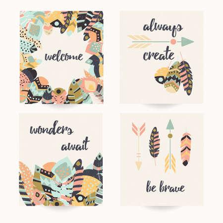collection: Diseño de la postal con cita inspirada y de plumas de colores bohemios, ilustración vectorial